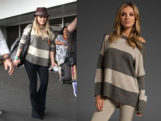 Hilary Duff in Vince Rugby Striped Sweater