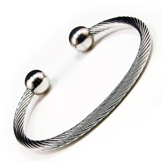 Magnetic Stainless Steel Cable Silver Ball Golf Bracelet