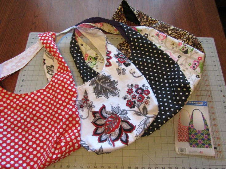 Homemade Sewn Fabric Tote Bags