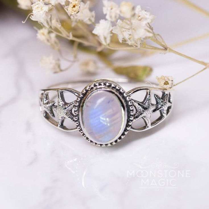 Moonstone Ring - Starfishes