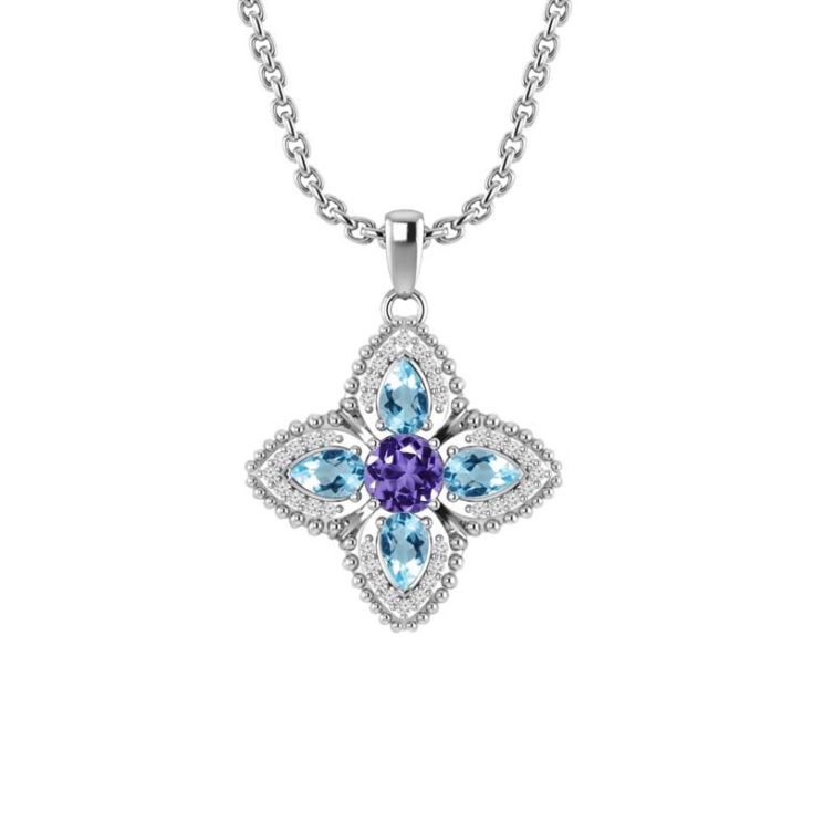 Quartet Necklace in Amethyst and Sky Blue Topaz