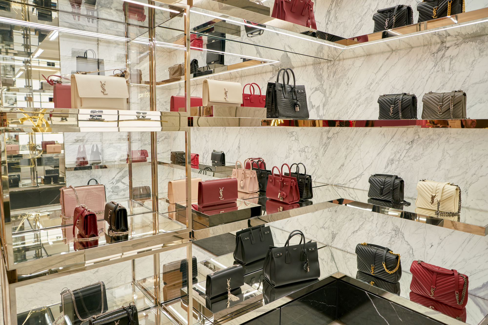 ROME, ITALY - CIRCA NOVEMBER, 2017: Yves Saint Laurent bags on display at a second flagship store of Rinascente in Rome