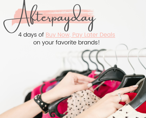 afterpayday details with a hanging rack of clothes